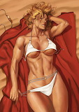 Power Girl Tanning at the Beach