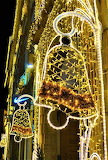 Christmas lighted bells Prague Czechia