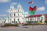 Church, Belarus, Grodno, trees, flags
