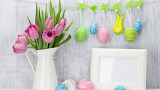 Decoration-easter-tulips-happy-spring-eggs-picture frame