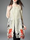 ELENYUN Crew Neck Linen Half Sleeve Casual Tunic
