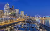 Night at harbor Seattle Washington