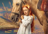 red hair girl with horse