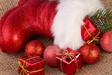 Santa claus' red boot
