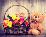 osito y flores