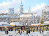 Market in winter-painting-Hubert Kaplan