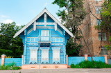 Russian cottage in light blue wood