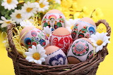 Easter, decorated eggs, basket, flowers