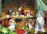 Free-bunny-rabbits-cat-painting-animal-art-artwork-wide-screen-g