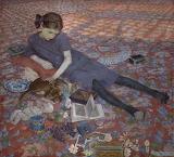Felice Casorati, Bambina su un tappeto rosso, 1912