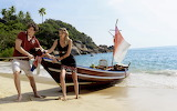 Beach, girl, palm trees, ocean, shore, boat, island, guy, sand,