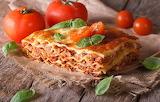 Lasagna with meat sauce, basil, tomatoes, dish, food