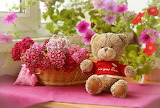 Teddy bear and basket of flowers