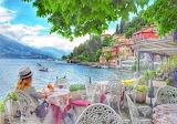 Lake como, girl, tables, chairs, restaurant, village, mountains
