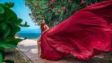 Girl, pose, wind, dress
