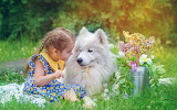 child with white dog