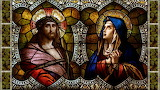 Stained glass-Jesus-Mary-religion