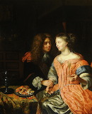 Man and Woman with a Wine Glass by Godfried Schalcken