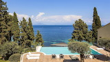Luxury sea view terrace, garden and pool in Corfu