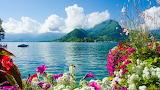 Mountains by lake