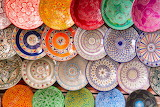 Colorful pottery plates