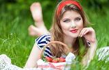Grass, look, girl, smile, berries, strawberry, blonde, basket, g