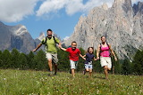 Family on vacation in Trentino on the Dolomites