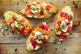 ^ Bruschetta with roasted bell peppers