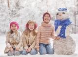 Children, snowman, winter, girl, boy, scarf, snow