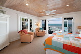 Colorful Beachy Bedroom with Ocean View