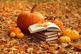 books leaves pumpkins