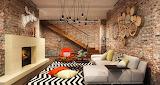 Living room paredes rusticas