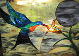 Stained-glass hummingbird