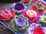 ^ Colorful crochet flowers