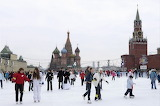 Ice skating in Red Square, Moscow, Russia
