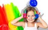 Joy, smile, paint, child, hands, girl, colourful