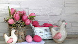 Easter - decoration - baskets - chicken - eggs - flowers - tulip