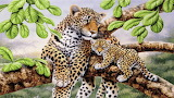 Leopard and Cub in Tree