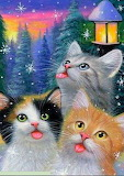 3 cats catching snowflakes