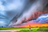 Shelf cloud at sunset Texas