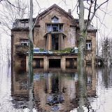 Abandoned house in flood waters