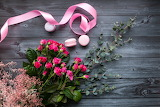 Flowers, roses, bouquet, macaroon, ribbon