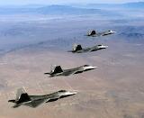 F22 Raptor formation over Mojave