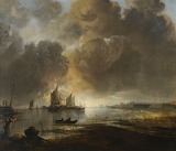 Coast Scene with a Fishing Boat by Aert van der Neer