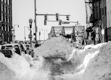 Snow banks in North End Boston