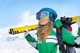 Girl, snow, winter, hat, ski, glasses, jacket, blonde, gloves, a