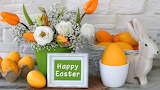 Easter - decoration - flowers - eggs - green bucket - rabbit