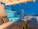 Santorini villa pool at night