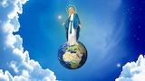 Virgin Mary-globe-sky-clouds-religion