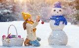 Little girl-Christmas-decorations-snowman